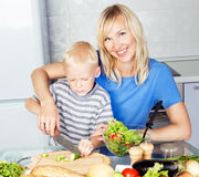 Mother and son cooking Royalty Free Stock Photos