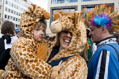 Mother and son costumed as Giraffes on Carnival in Royalty Free Stock Photography