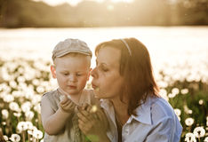 Mother and son with dandelions in meadow Royalty Free Stock Photography