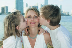 Mother, Son and Daughter. Lifestyle image on the shoreline of Miami's Biscayne Bay stock photos