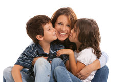 Mother with son and daughter. Mother, son and daughter lifestyle with a happy expression on a white background stock photography