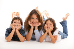 Mother with son and daughter Stock Photography