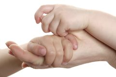 Mother and son, daughter hand together. Love family sign Stock Photography