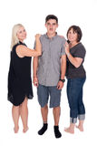 Mother with son and daughter. Posing in studio Stock Photos