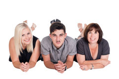 Mother with son and daughter. Posing in studio Stock Photo