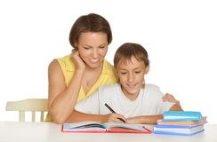 Mother and son doing homework Stock Image