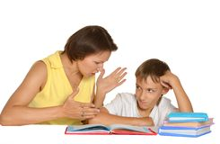 Mother and son doing homework Royalty Free Stock Photography