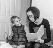Mother and Son doing homework Royalty Free Stock Images