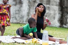 Mother and son doing a picnic royalty free stock image