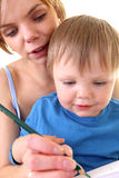 Mother and son drawing Royalty Free Stock Photography