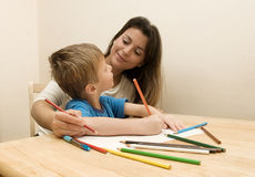 Mother and Son Drawing. Stock Image