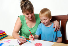 Mother and son are drawing Royalty Free Stock Photography