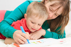 Mother and son drawing family Stock Image