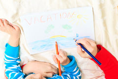 Mother and son drawing vacation Stock Photography