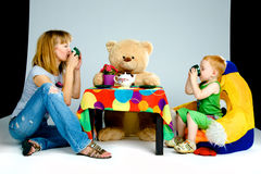 Mother and son drinking tea Stock Photo