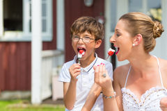 Mother and son eating strawberry cake in garden Royalty Free Stock Images