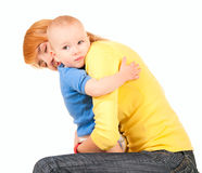Mother and son embrace Royalty Free Stock Photography