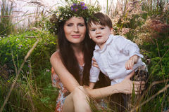 Mother and son enjoy summer day. Stock Photography