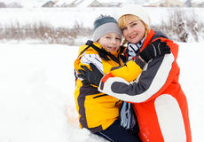 Mother and son enjoying beautiful winter day Royalty Free Stock Photography