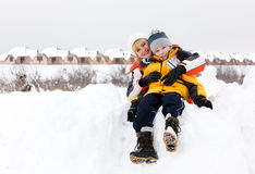 Mother and son enjoying beautiful winter day Royalty Free Stock Images