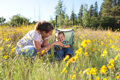 Mother and son enjoying late summer afternoon Stock Image