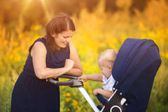Mother and son enjoying life together outside Stock Image