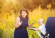 Mother and son enjoying life together outside Stock Photography