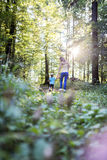Mother and son enjoying in nature Stock Photos