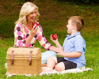 Mother and son enjoying picnic outdoors Royalty Free Stock Images