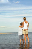 Mother And Son Enjoying Sea View Royalty Free Stock Image