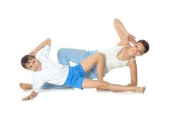 Mother and son exercising Royalty Free Stock Images