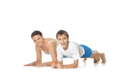 Mother and son exercising Royalty Free Stock Photo