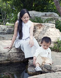 Mother and Son exploring Royalty Free Stock Photo