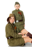 Mother and son in fatigues Stock Image