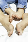 Mother and son feet stock photography