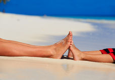 Mother and son feet on summer beach Stock Image