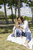 Mother and son in the field Royalty Free Stock Photography