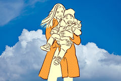 Mother and Son in Front of Blue Sky Royalty Free Stock Image