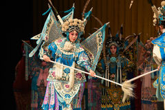 """Mother and son of general- Beijing Opera"""" Women Generals of Yang Family"""". This opera tells a patriotic story how does an old woman of a hundred years Stock Photography"""