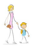 Mother and son going to school Stock Photography