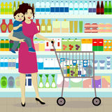 Mother and son in grocer. Vector Royalty Free Stock Images