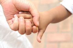 The mother and son hand in hand Royalty Free Stock Image
