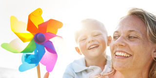 Mother Son Happiness Beach Summer Concept Stock Photos