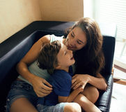 Mother with son, happy family at home Royalty Free Stock Photography