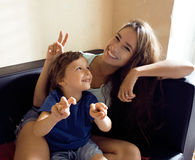 Mother with son, happy family at home Stock Image