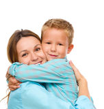 Mother and son. Happy mother and son, isolated over white Royalty Free Stock Photo