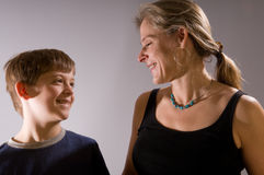 Mother and son happy together Stock Photo