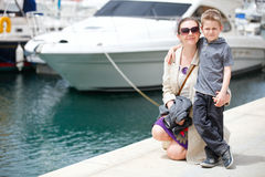 Mother and son at harbor Royalty Free Stock Photo