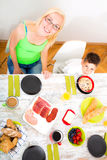 Mother and Son having breakfast Stock Image