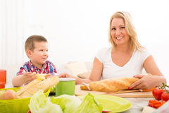Mother and Son having breakfast at home Stock Photo